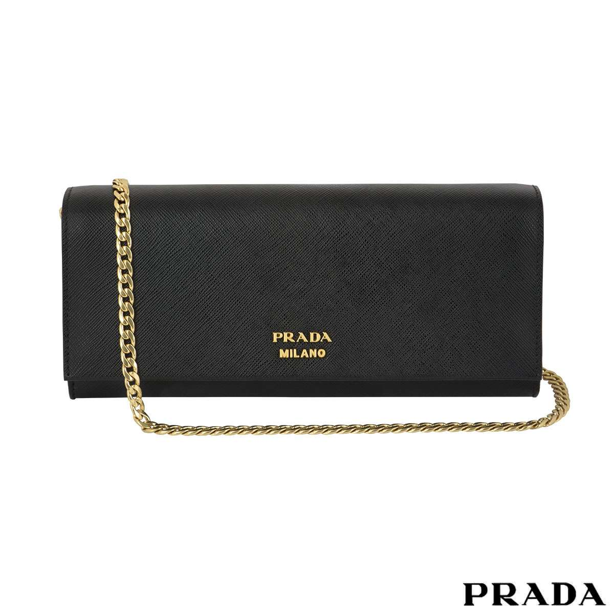 Prada Saffiano Black Clutch Bag